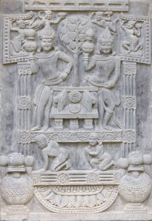 SURAT THANI, THAILAND - MARCH 17 : Ancient art on temple wall at Suanmokkh temple on March 17, 2012 in Surat Thani, Thailand. Stock Photo - 16837412