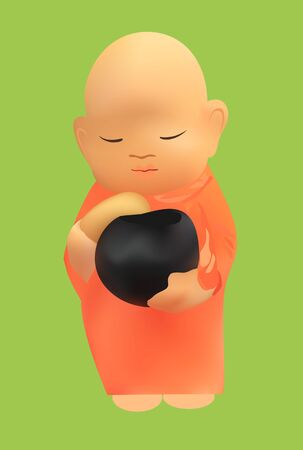 Vector illustration of cartoon Thai monk  Vector