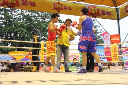 SURAT THANI, THAILAND - DECEMBER 14 : Usanakorn Kokietgym WBC Super Flyweight Champion fight boxing with Leeyunting  on December 14, 2012 in Surat Thani, Thailand.