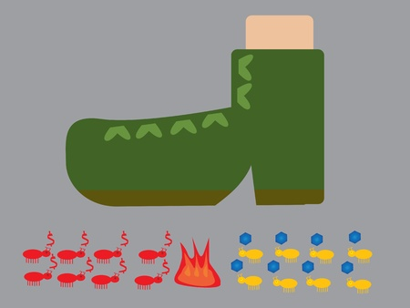 ant war under soldier boot Vector