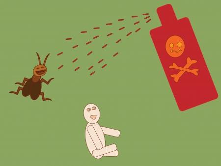 exterminate: aerosol insecticida para matar cucarachas o para el beb� Vectores
