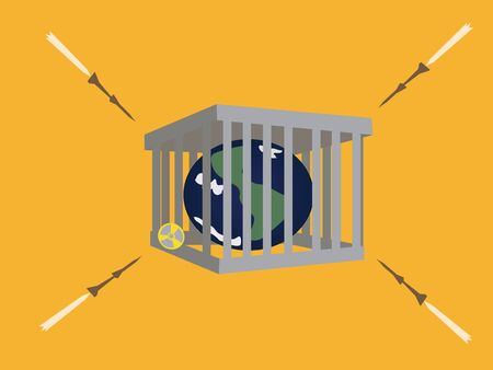 missile bomb Earth in jail Vector