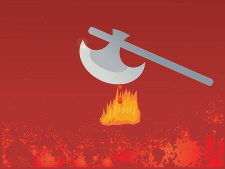 frightful: illustration of axe with fire and blood on red background
