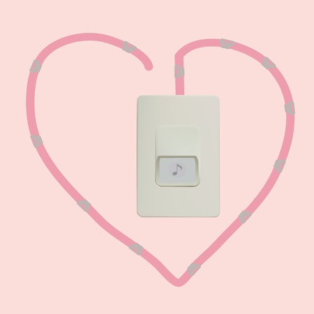door bell heart wire Vector