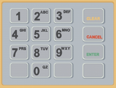 cash machine ATM keypad  Vector