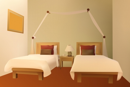 guests: Modern bedroom  Illustration