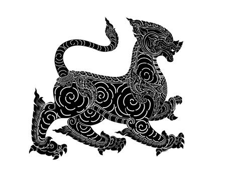 ilustración negro silueta del león leo o estilo tailandés