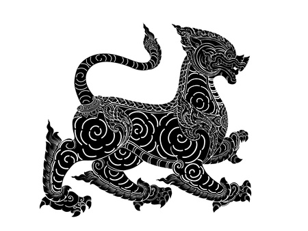 illustration black silhouette of leo or lion Thai style