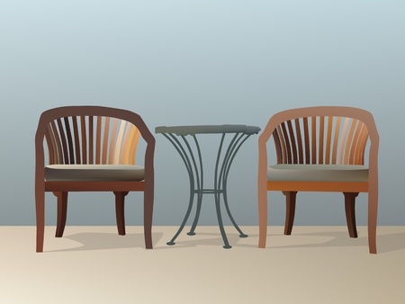 Vector and illustration of two chairs and table Vector