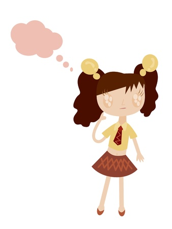 illustration of girl with speech bubble Vector