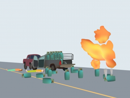 illustration of car accident with gas bomb Vector