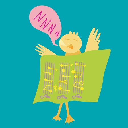 musicsheet: Vector and illustration of duck sleep with music notes Illustration