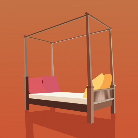 Vector and illustration of vintage bed Vector