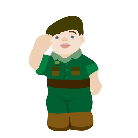 Vector and illustration of soldier on a white background
