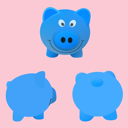 Vector and illustration of cute cartoon blue pigs Stock Vector - 20720145