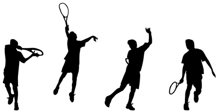 Illustration of tennis player hight backhand silhouettes and shadows Vector