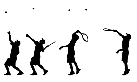 Illustration of tennis player serve silhouettes and shadows Vector