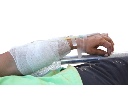 intervenes: Arm of a female patient with an IV isolated