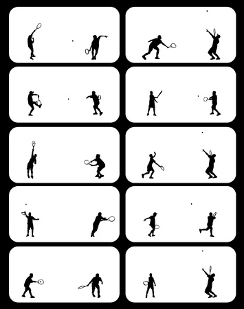 Illustration of tennis players silhouettes and shadows set Vector