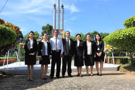 prosecutors: SURAT THANI, THAILAND - AUGUST 7 : Prosecutors to take a group picture after lay wreaths to the picture of Rapee Pattanasak on Rapee Day Prince Rapee Pattanasak, the father of Thailand on August 7, 2013 in Surat Thani, Thailand.