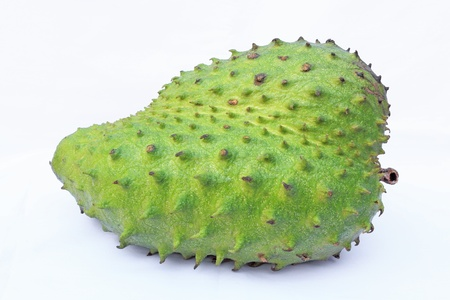 Soursop or Prickly Custard Apple or Durian belanda  Annona muricata L   isolated on white background photo