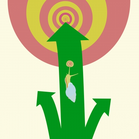 different way: illustration of snail and different way to aim success Illustration