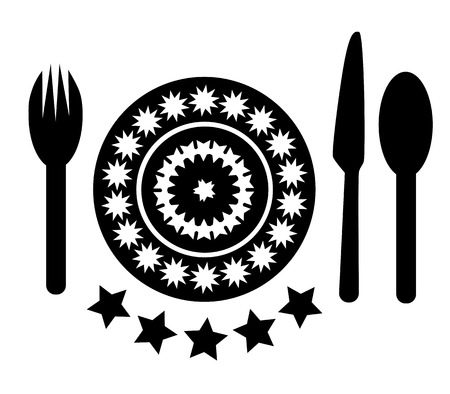 fork in path: illustration of plate with cutlery, empty plate with spoon, knife and fork on a white background