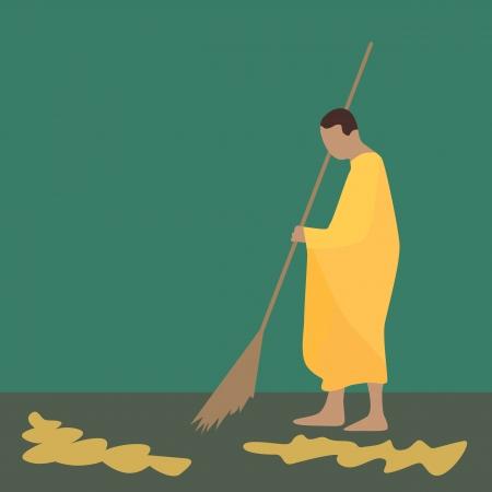 Illustration of Thai monk sweeping leaf