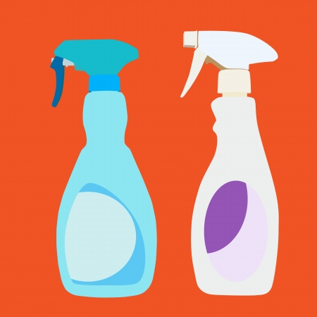 trigger: Vector and illustration of plastic household cleaner trigger spray bottles Illustration