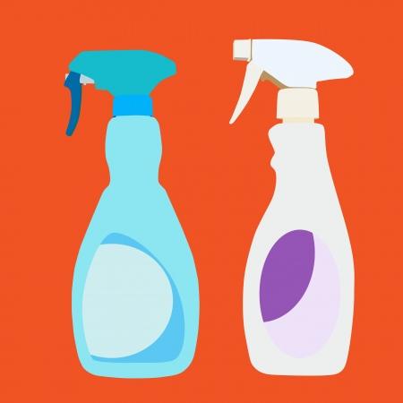 trigger: Vector y la ilustraci�n de botellas de spray con gatillo Limpiador dom�stico de pl�stico Vectores