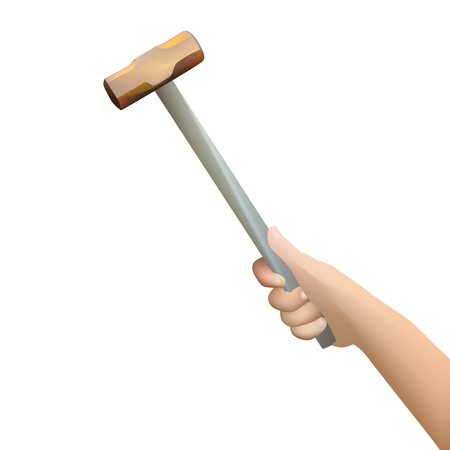 Vector and illustration of woman hand holding hammer Vector