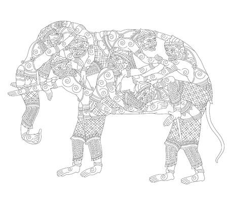 ramayana: Vector Illustration Hanuman monkey transformed himself to elephant drawing