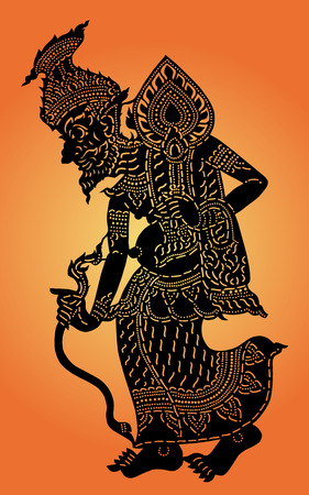 Hermit shadow puppet  Thai  Nang Talung  was one form of public entertainment in the south of Thailand  Ilustracja