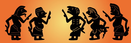 Shadow puppets set  Thai  Nang Talung  was one form of public entertainment in the south of Thailand  Vector