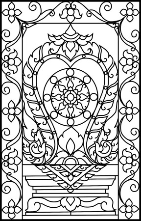 Vector illustration pattern iron window thai art Vector