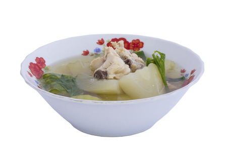 Chicken soup isolated on a white background photo