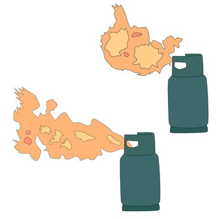 pressure bottle: ilustraci�n de fuga de gas propano l�quido Vectores