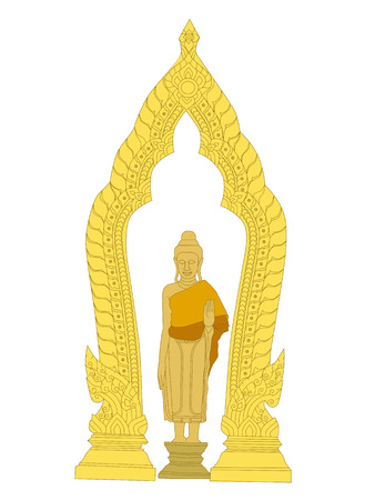 illustration of Buddha pose of blessing and Thai art sculpture