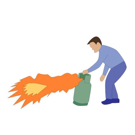 illustrazione uomo: illustrazione uomo che tiene la bombola del gas pericolo Vettoriali