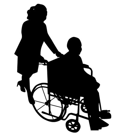 crippled: Silhouettes of woman in wheelchair with woman pushing her