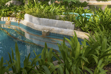 Plant decorate near pool and outdoor design in Thailand Editorial