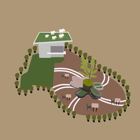 outdoor cafe: illustration of outdoor cafe park Illustration