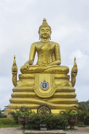 PHUKET, THAILAND - JUNE 7: A 12 meters high Big Buddha Image made of 22 tons of brass on top of Karon hill on June 7, 2014 in Phuket, Thailand. The construction is made only on donations.