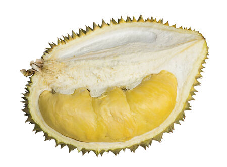 Close up of peeled durian King of fruits isolated on white background with clipping path photo