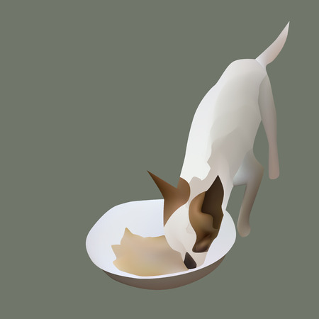 Vector illustration chihuahua eating in his food bowl Illustration