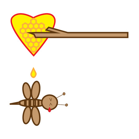 stab: Vector illustration bee tear flow after wood stab honey bee heart isolated on white background Illustration