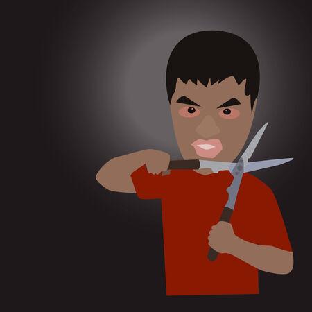 illustrazione uomo: Vector illustration uomo con le forbici Vettoriali
