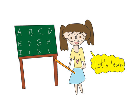 Vector illustration school teacher or lecturer writing on a blackboard Vector