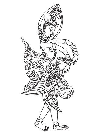 Vector illustration Thai arts angel