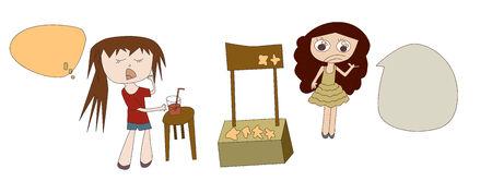 甘い食べ物: 甘い食べ物や甘い食べ物の売店で飲み物を買って女の子のベクトル イラスト